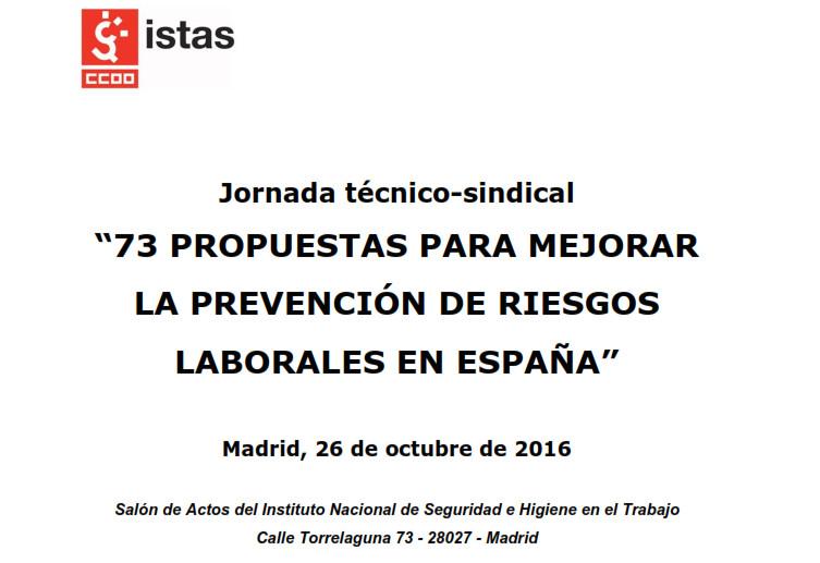 73 propuestas de CCOO para mejorar la prevención de riesgos laborales  en España
