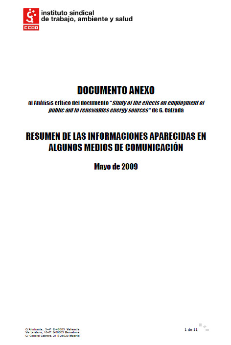 Publicación ISTAS: Anexo al Análisis crítico del documento Study of the effects on employment of public aid to renewables energy sources de Gabriel Calzada.