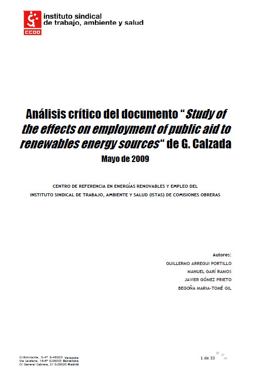 Publicación ISTAS: Análisis crítico del documento Study of the effects on employment of public aid to renewables energy sources de Gabriel Calzada.