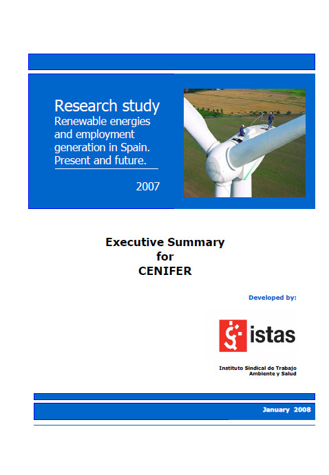 Publicación ISTAS: Executive summary. Renewable Energies and Employment. Spain 07.
