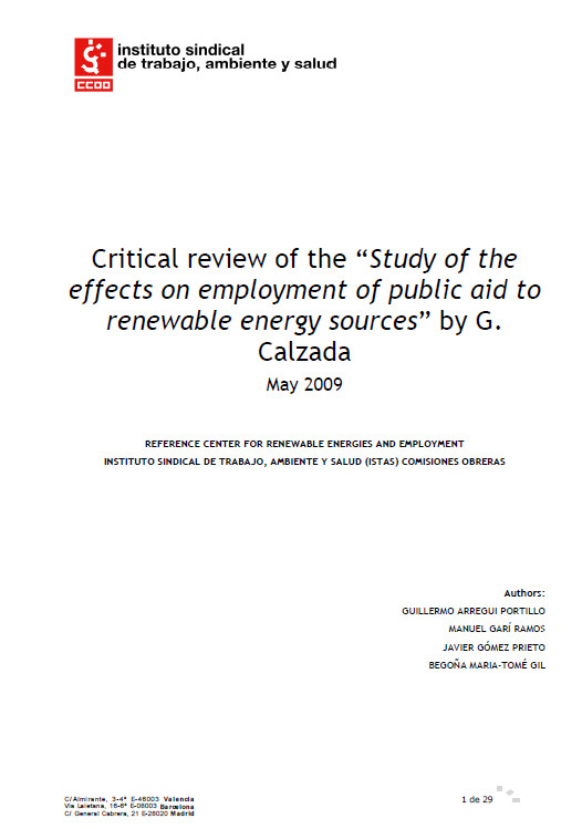 Publicación ISTAS: Critical review Study of the effects on employment of public aid to renewable energy sources by Gabriel Calzada.