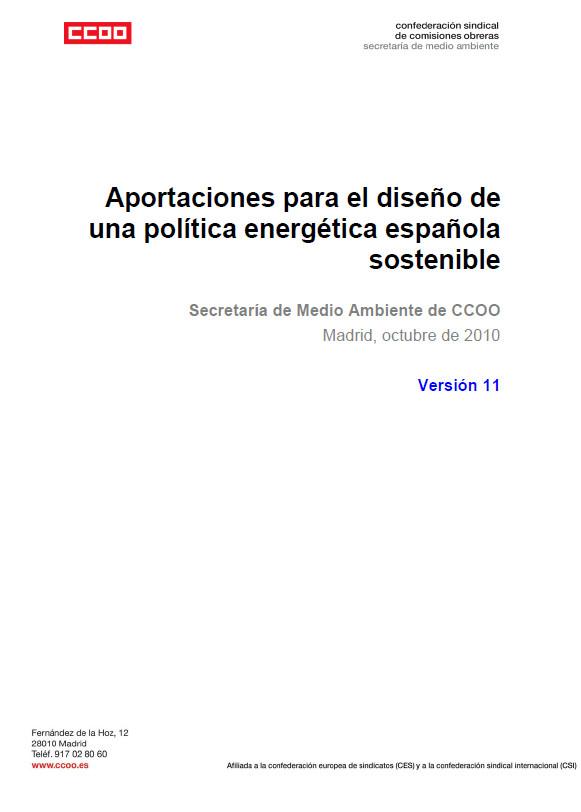 Publicación ISTAS: Aportaciones para el diseño de una política energética española sostenible.