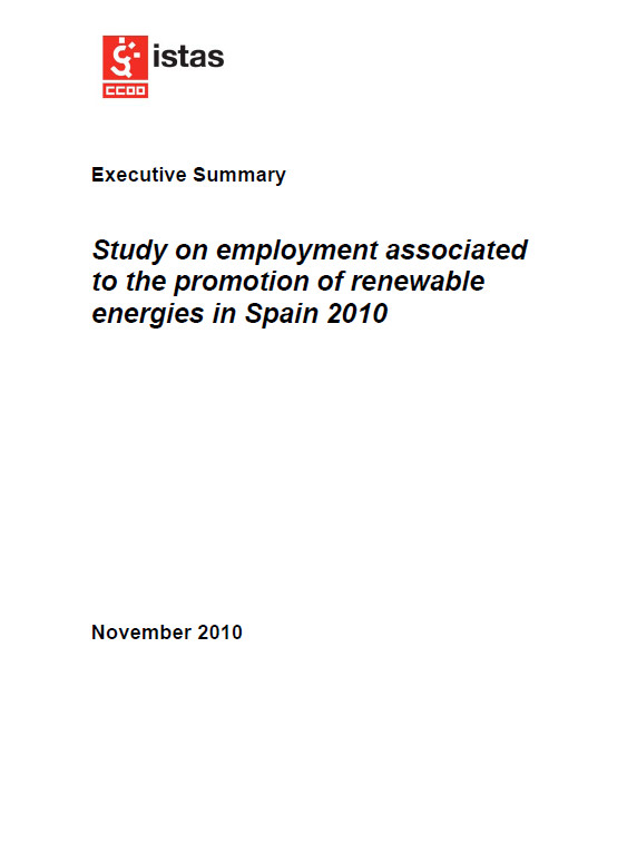 Publicación ISTAS: Study on employment associated to the promotion of renewable energies in Spain 2010. Executive Summary.