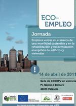 """Publicación ISTAS: Jornada """"Empleos verdes en el marco de una movilidad sostenible y en la rehabilitación y modernización energética de edificios y viviendas"""", Valencia, 14 de abril de 2011."""