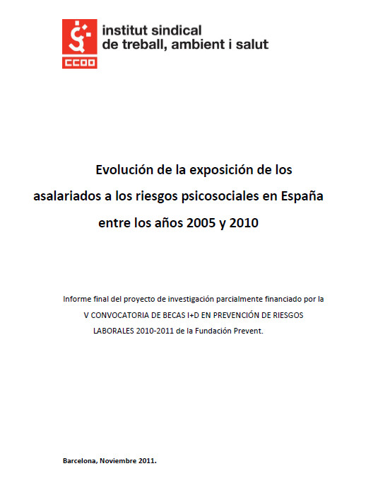 Publicación ISTAS: Evolución de la exposición de los asalariados a los riesgos psicosociales en España entre los años 2005 y 2010.