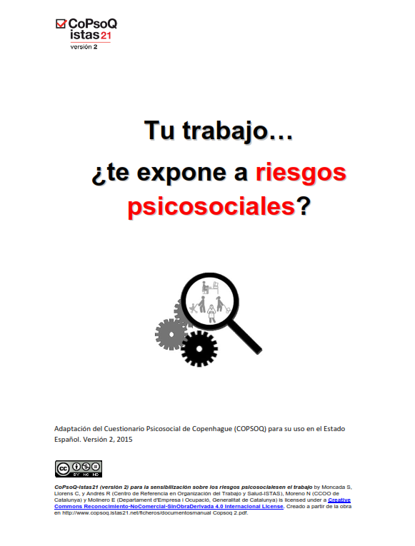 Publicación ISTAS: Versión para sensibilización del método CoPsoQ-istas21 (castellano).