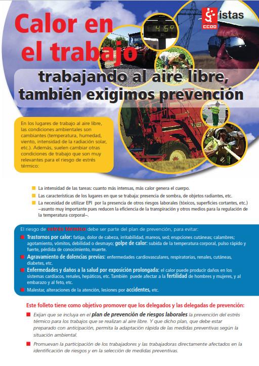 Publicación ISTAS: Calor en el trabajo. Trabajando al aire libre, también exigimos prevención.