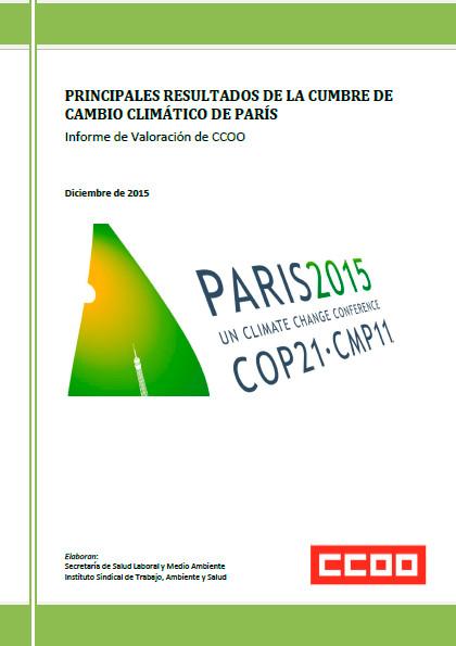 Publicación ISTAS: Principales resultados de la cumbre de cambio climático de París. Informe de valoración de CCOO.