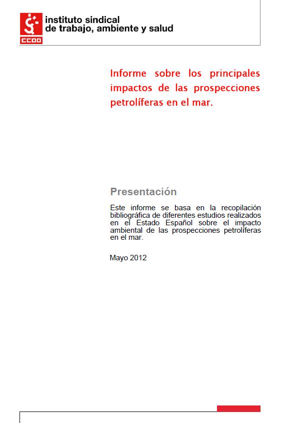 Publicación ISTAS: Informe sobre los principales impactos de las prospecciones petrolíferas en el mar..